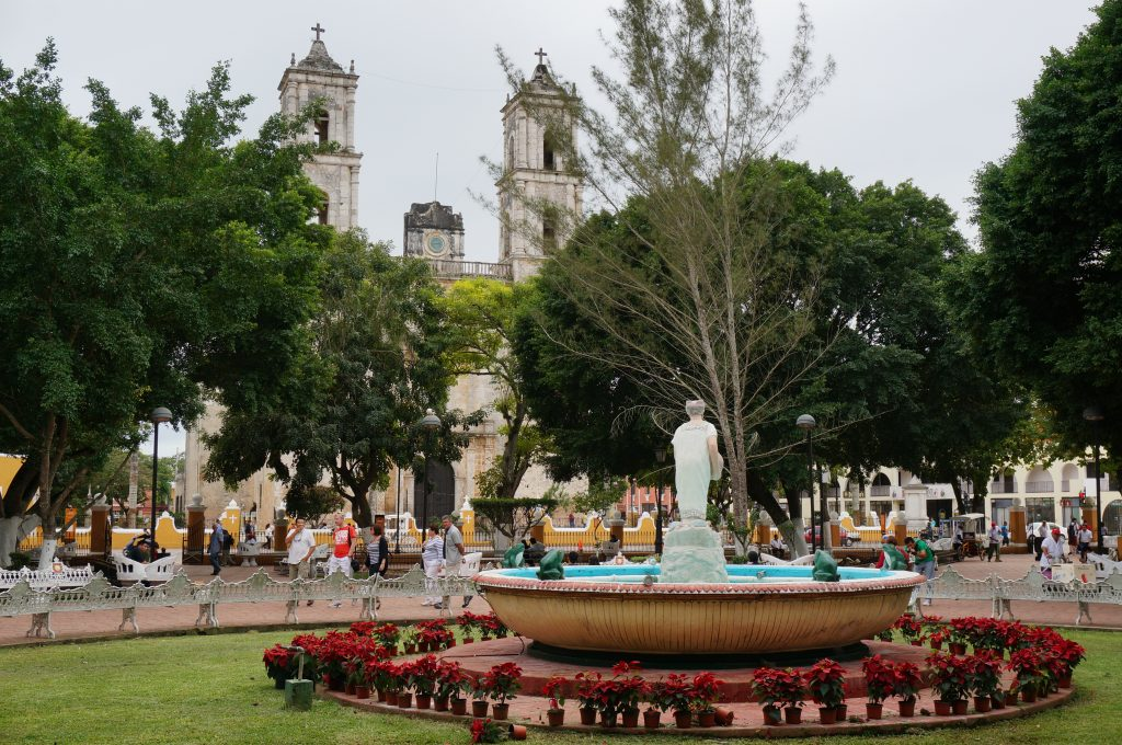 Parque Francisco Canton is the main plaza in Valladolid with a fountain that overlooks the Church of San BernardinoParque Francisco Canton is the main plaza in Valladolid with a fountain that overlooks the Church of San Bernardino