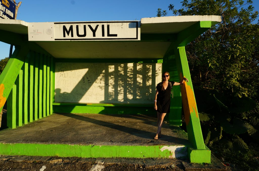 Muyil Bus station waiting to return from Muyil to Tulum