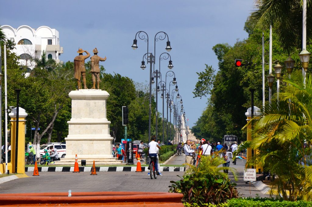 Paseo de Montejo Merida Mexico is a scenic and wide avenue