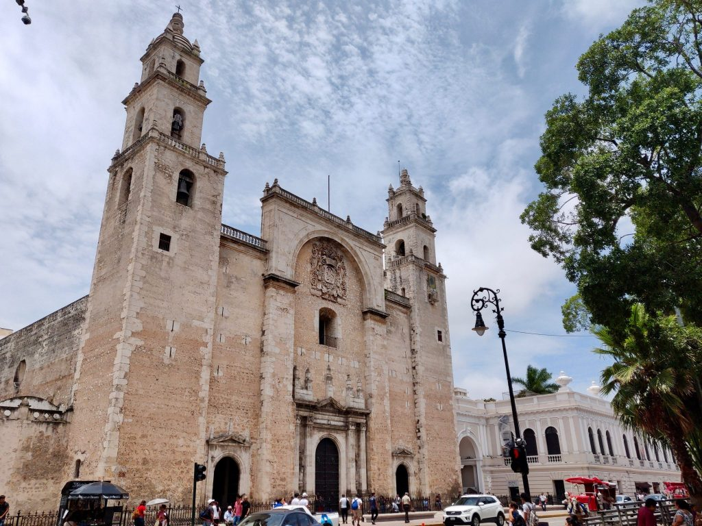 Catedral de San Ildefonso a Cathedral in Plaza Grande Merida Mexico