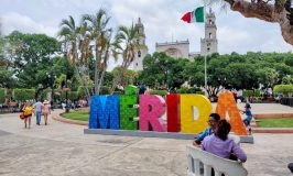 Merida sign in Plaza Grande Merida Mexico