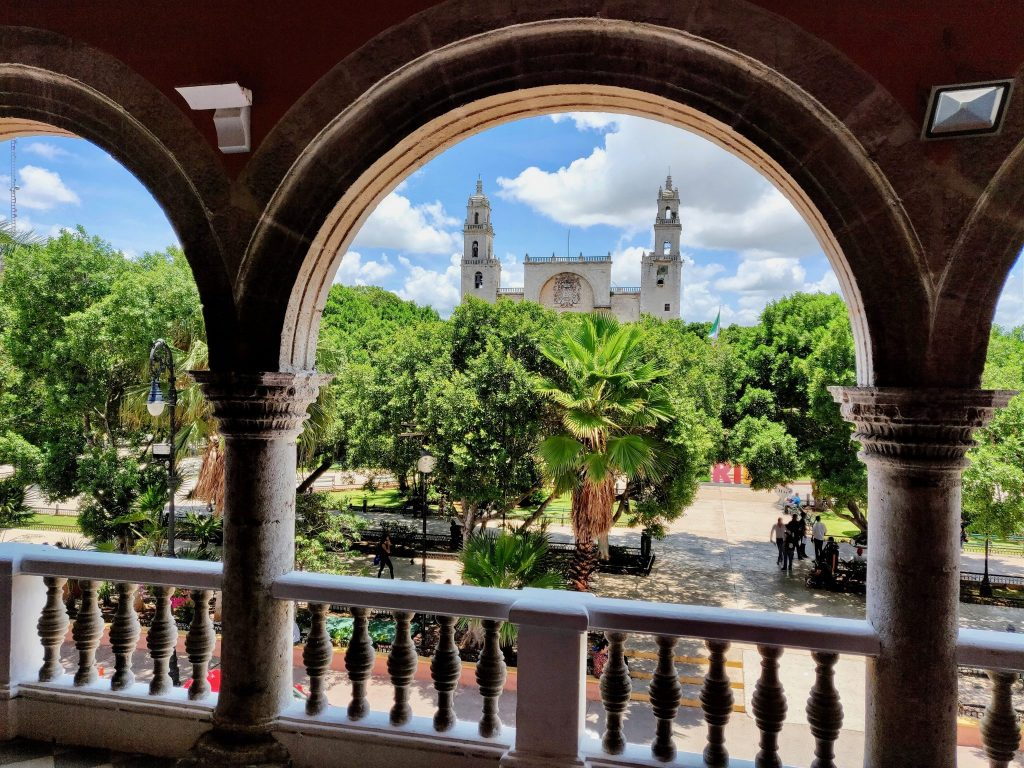 Plaza Grande Merida from balcony of Municipal Palace