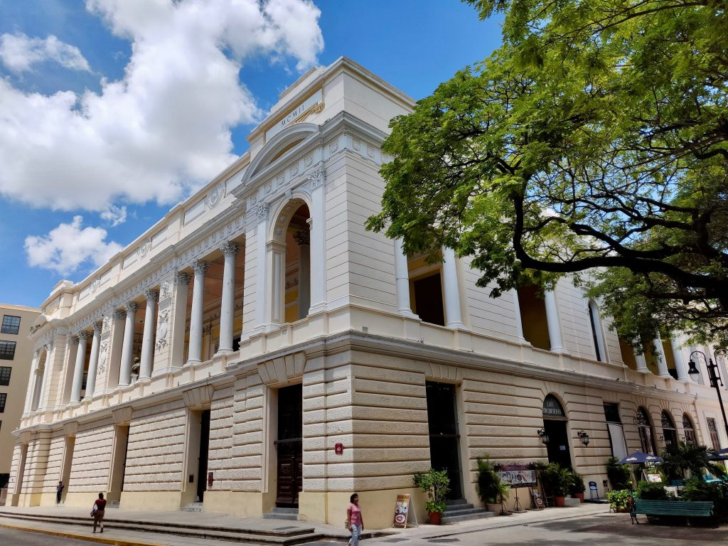 Teatro Jose Peon Contreras neoclassical exterior is a 100+ year old theatre in Merida Mexico