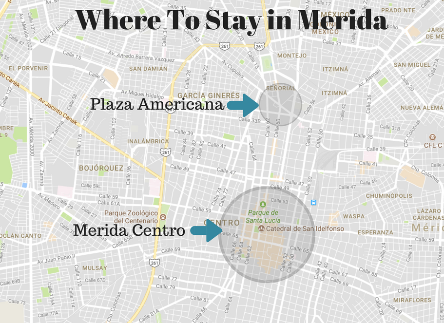 Where To Stay in Merida Mexico map: Plaza Fiesta Americana and Merida Centro