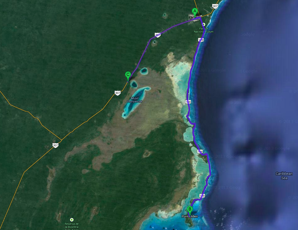 Map of Sian Ka'an Access Points from Tulum Source: Google Maps