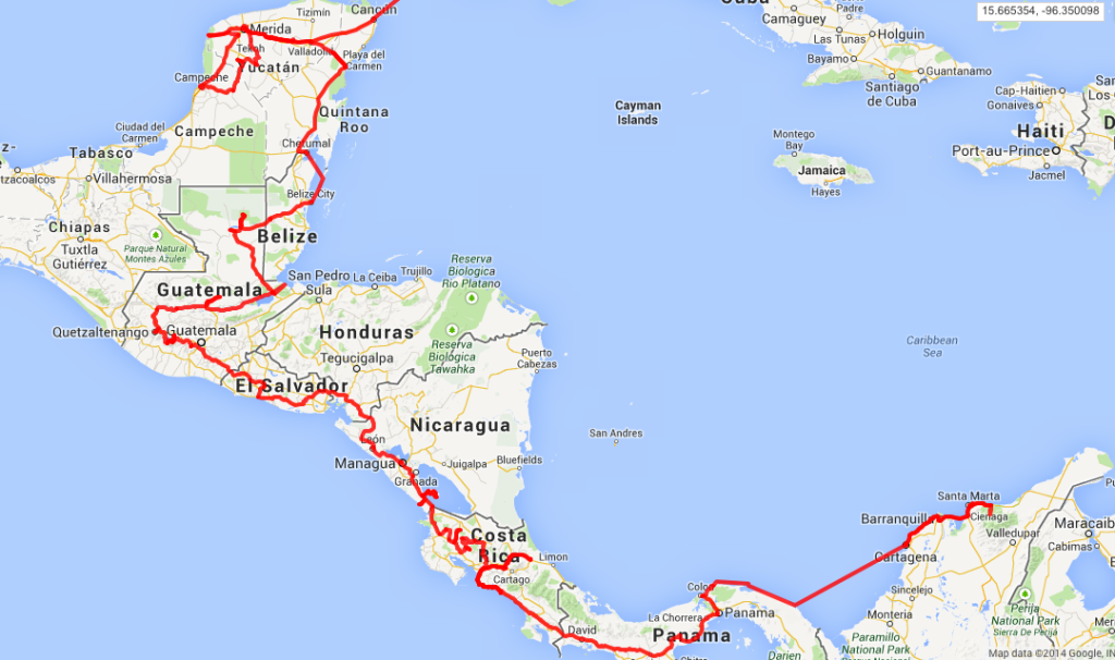 Overland route through Central America from Mexico to Panama