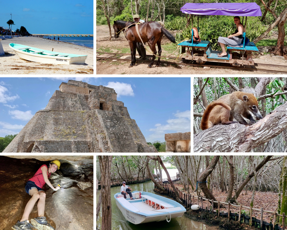 Taking day trips are some of the best things to do in Merida: Progreso Beach, Cuzuma horse cart, Uxmal ruins, coati, caving, eco-tour boat