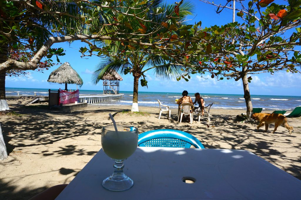 Beachside restaurant near Livingston Guatemala Trial to Siete Altares in Livingston Guatemala