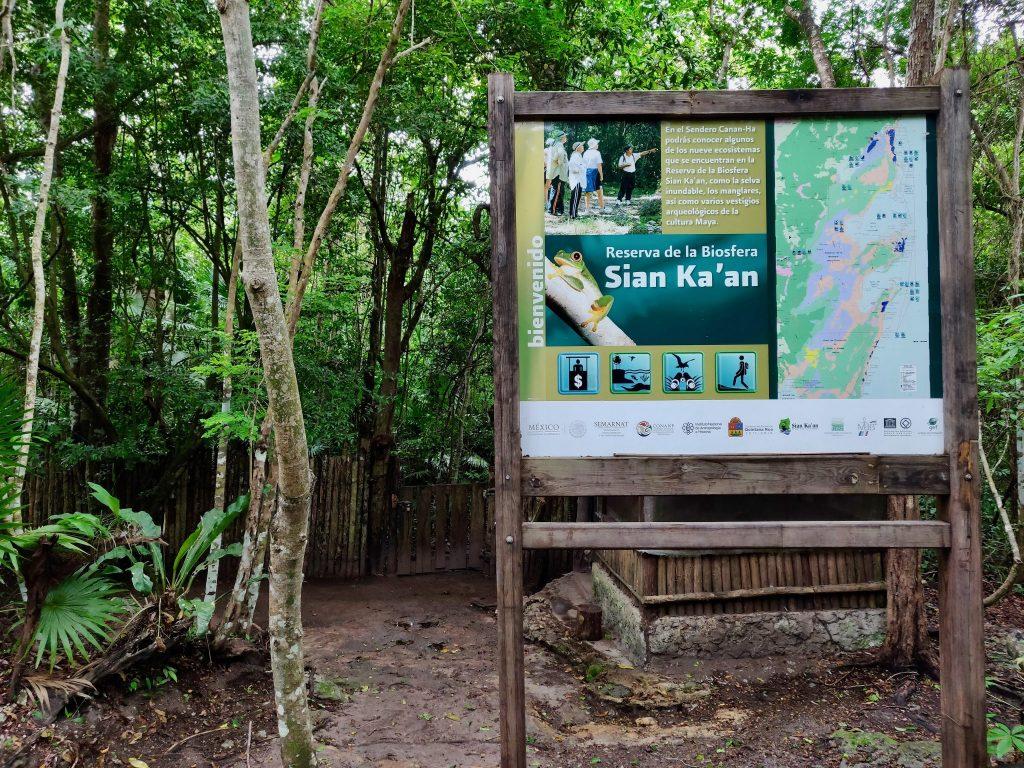 Entrance sign to Sian Ka'an at Muyil