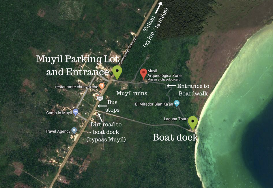 Map of Muyil area of Sian Ka'an with points of interest: entrance, road to Tulum, boat dock, lagoon, Muyil ruins, parking lot