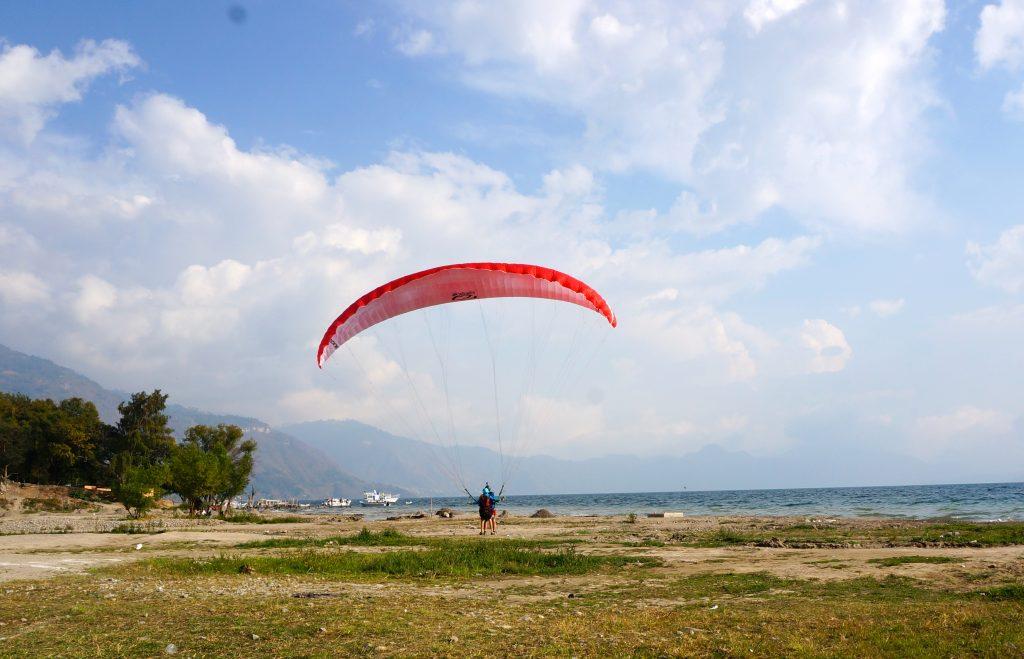 Paragliding Lago Atitlan Safe Landing in Panajachel Guatemala