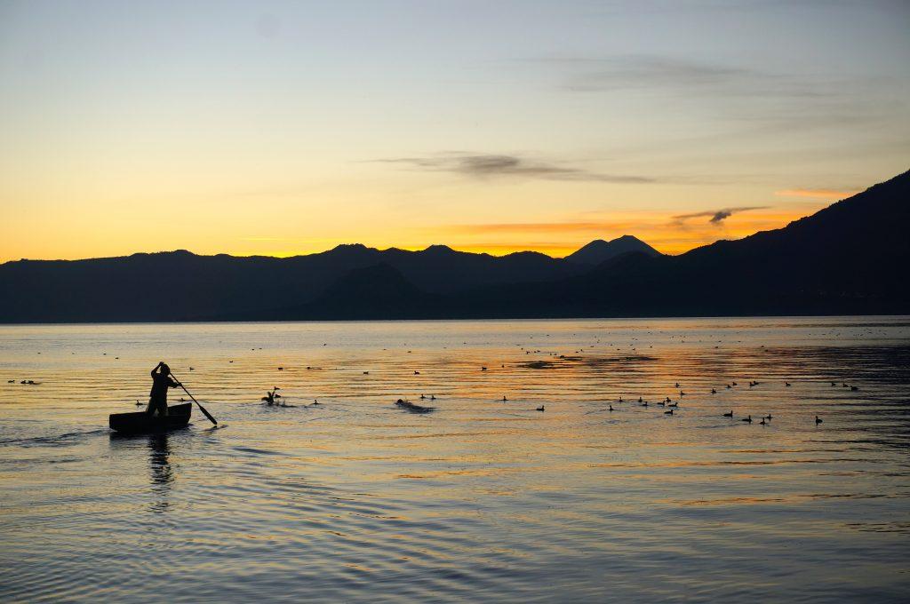 Lago Atitlan Sunrise Fisherman