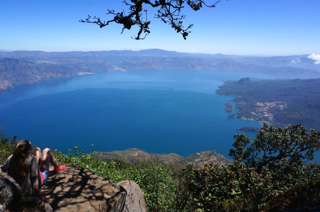 Looking down at Lake Atitlan from Volcan San Pedro