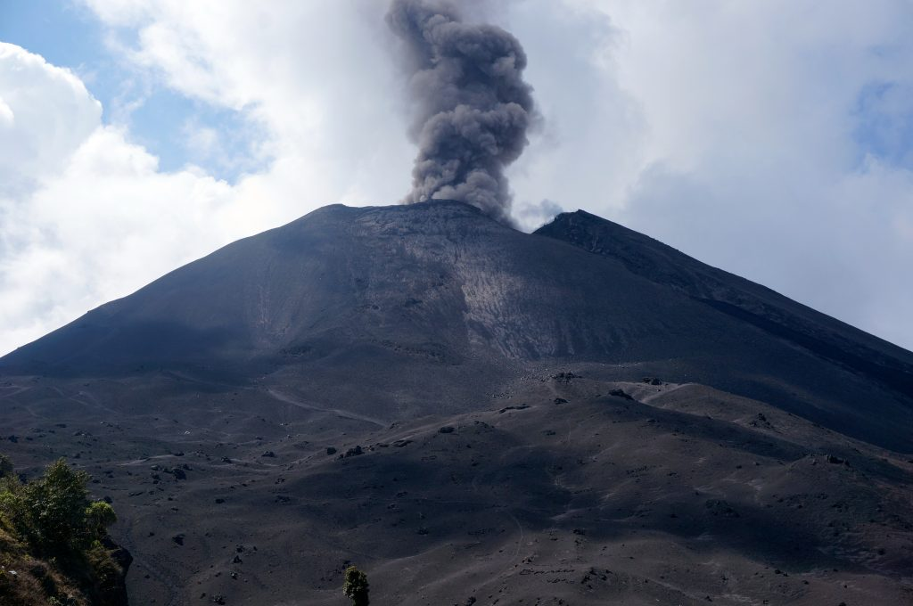 Pacaya Volcano erupting with ash