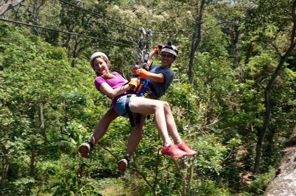 Tandem zip line canopy tour is our best bet for adventurous things to do in Granada Nicaragua