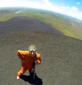 Volcano Boarding Down Cerro Negro in Nicaragua