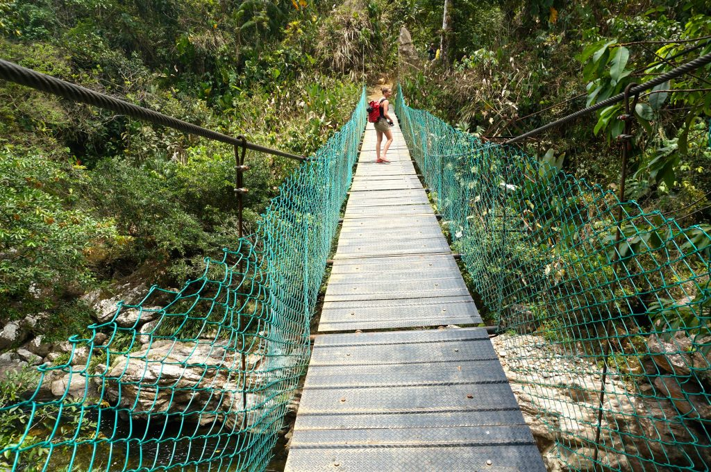 swing bridge river crossing during ciudad perdida hike Colombia