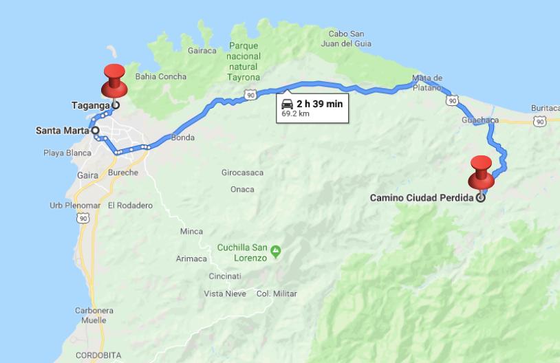 map of Taganga to Ciudad Perdida trailhead driving route