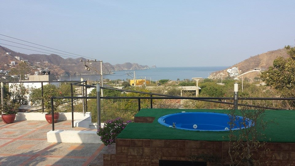 View from Taganga hotel rooftop with hot tub