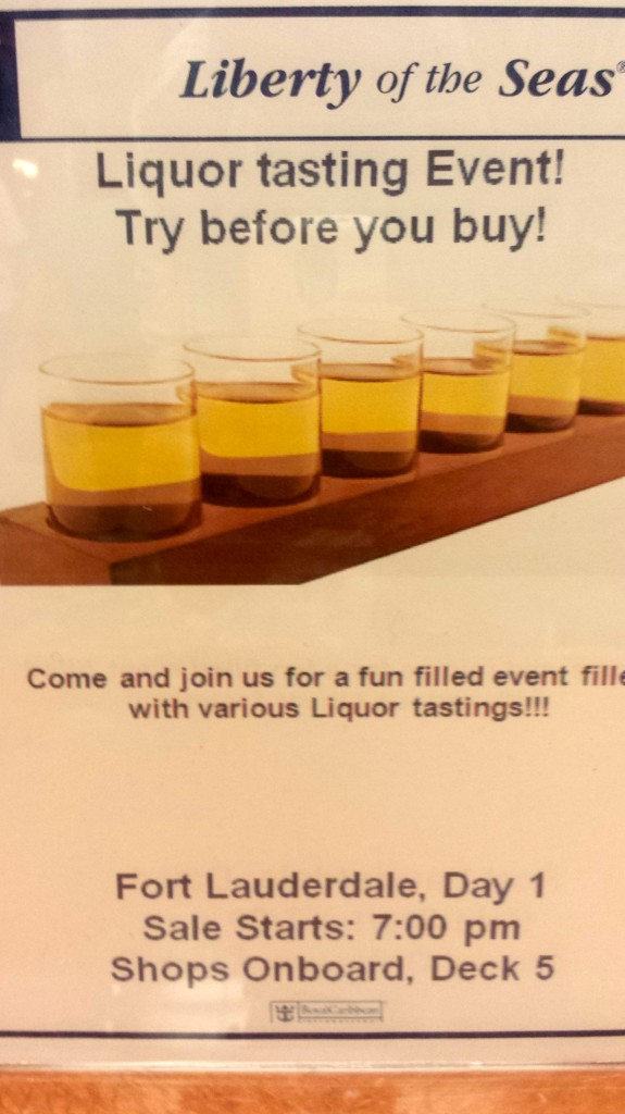 Royal Caribbean Liberty of the Seas advertisement for free liquor tasting
