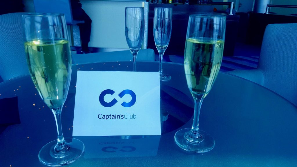 Free champagne during captains club reception on Celebrity cruise ship