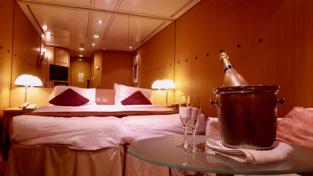 A bottle of champagne was wine allowed onboard a Celebrity cruise, as permitted through the cruise alcohol policy