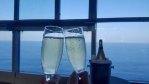Drinking free champagne won during a game on a cruise