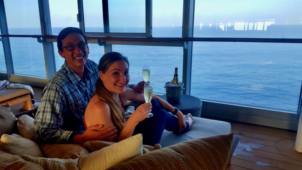 Drinking free champagne on a cruise