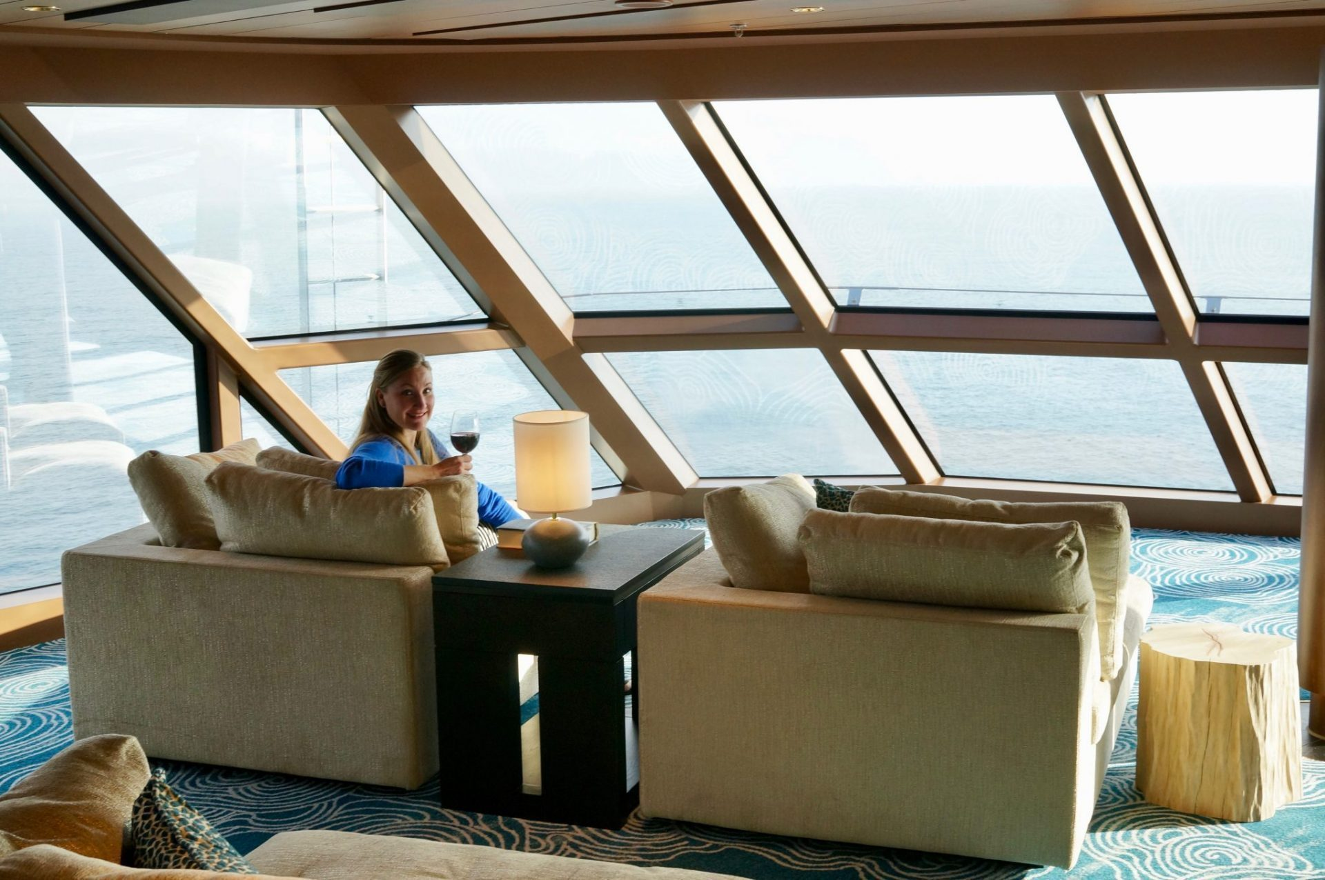 Drinking wine on Norwegian Bliss