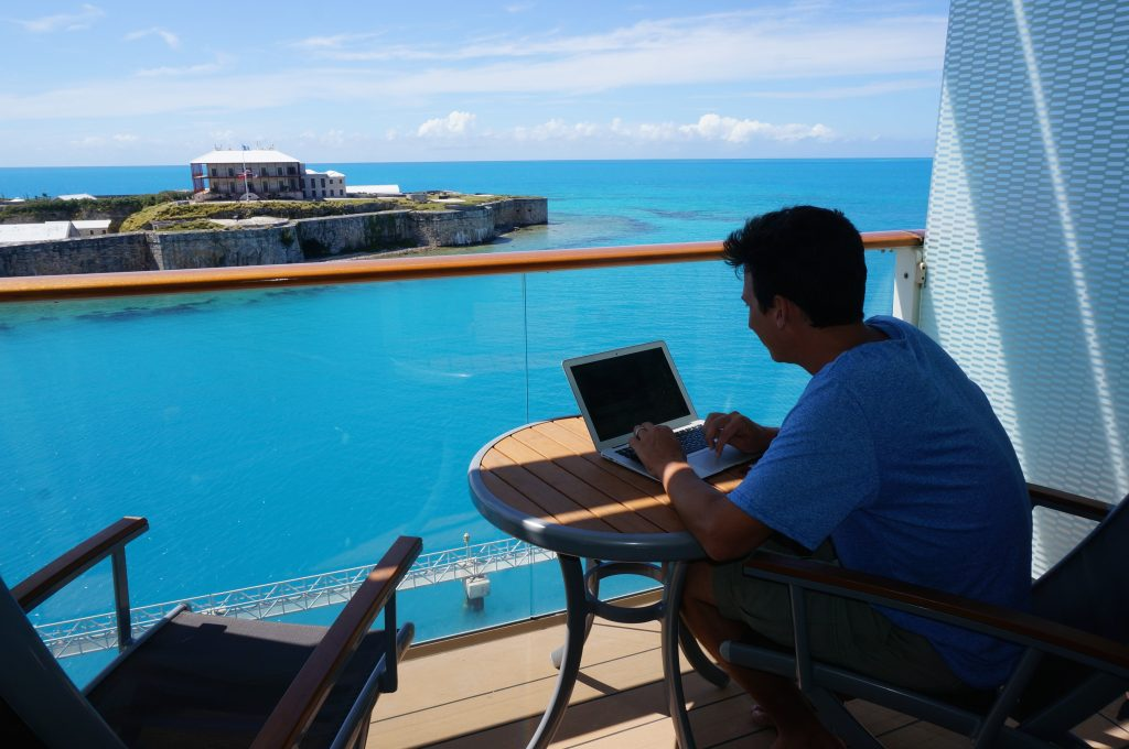 using a laptop while on a cruise