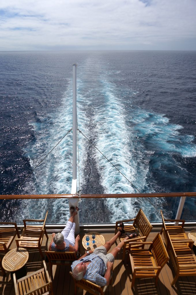 Cruise hack: find a quiet spot in the aft of the ship to enjoy peace and quiet outdoors