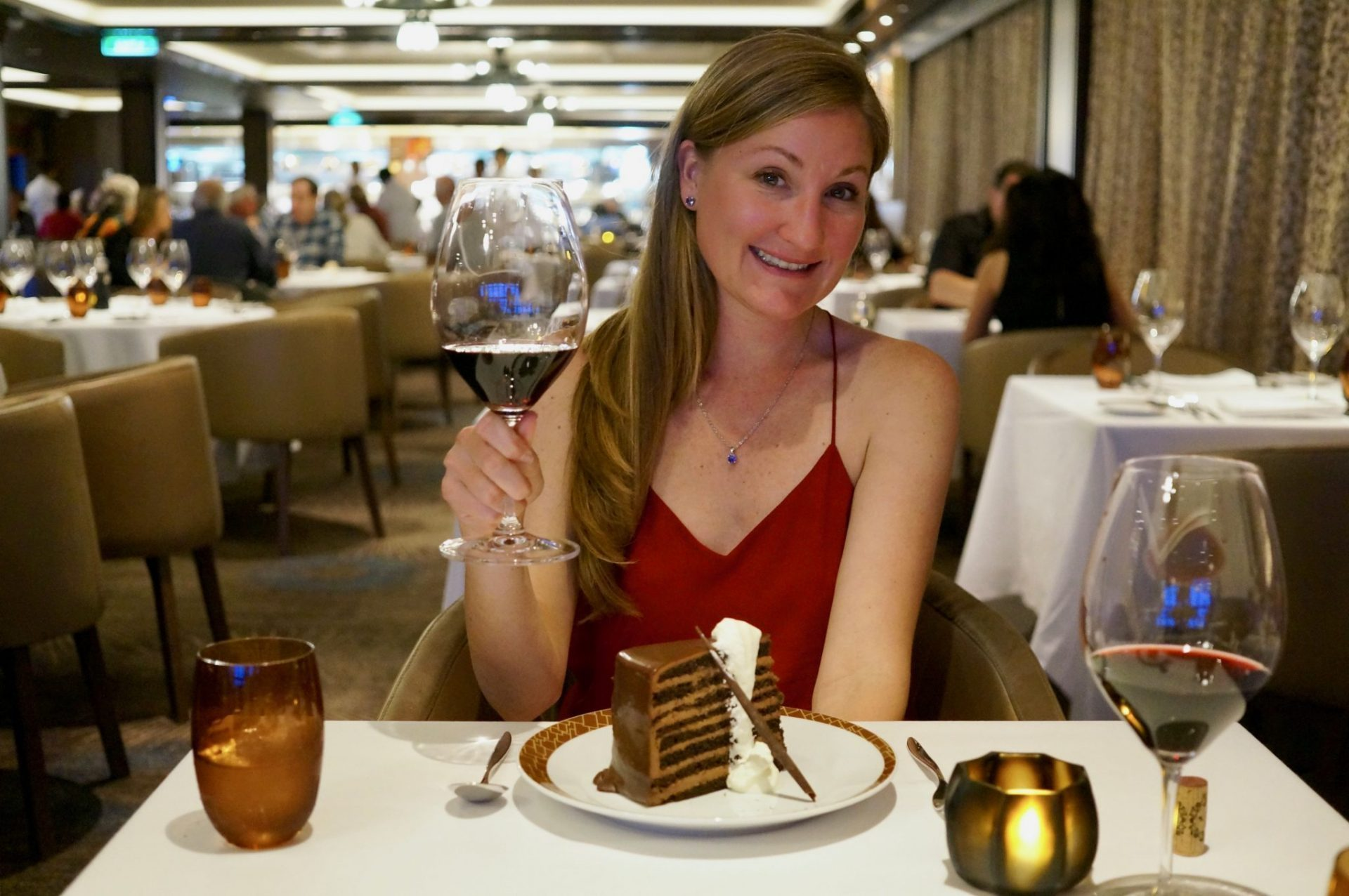 Wine and cake in the dining room on a cruise