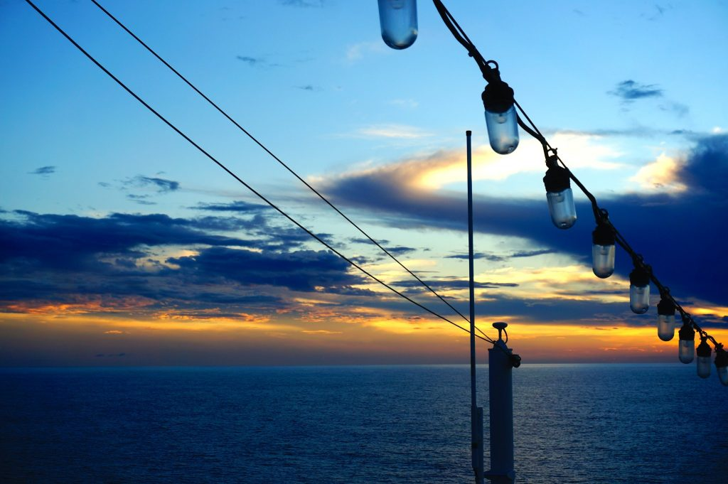 Sunset from the Norwegian Star during a transatlantic repositioning cruise deal