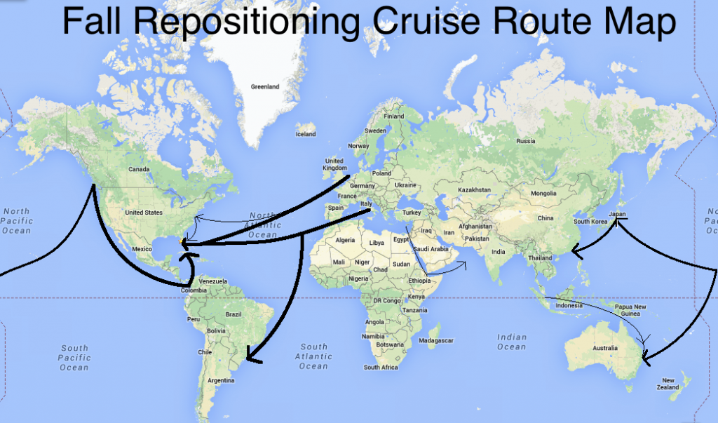 Fall Repositioning Cruise Route Map