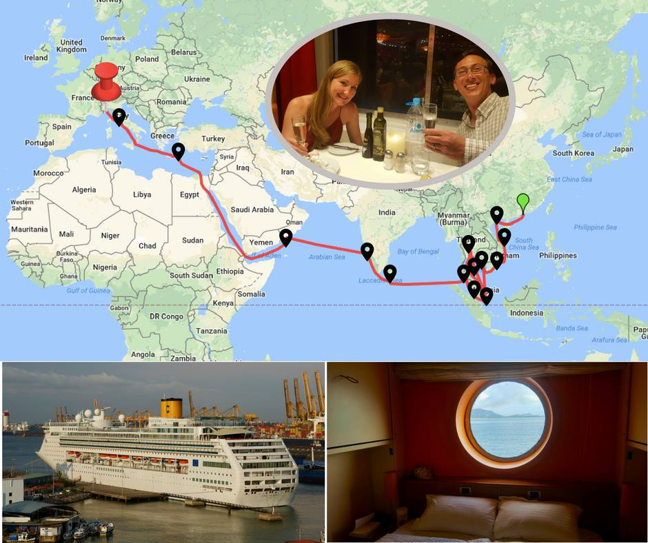 Repositioning Cruise route map from asia to europe