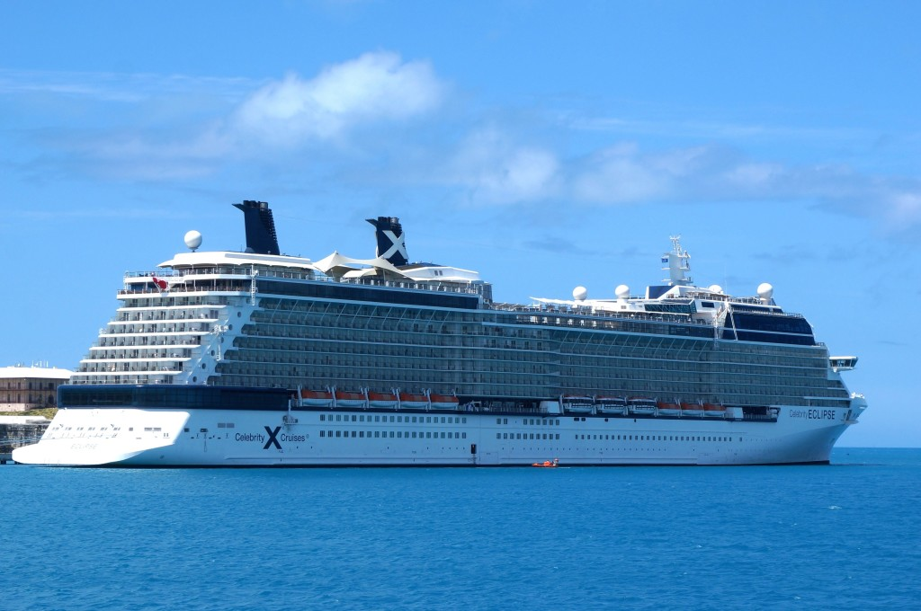 Celebrity Eclipse docked in Bermuda which was the first repositioning cruise deal we got