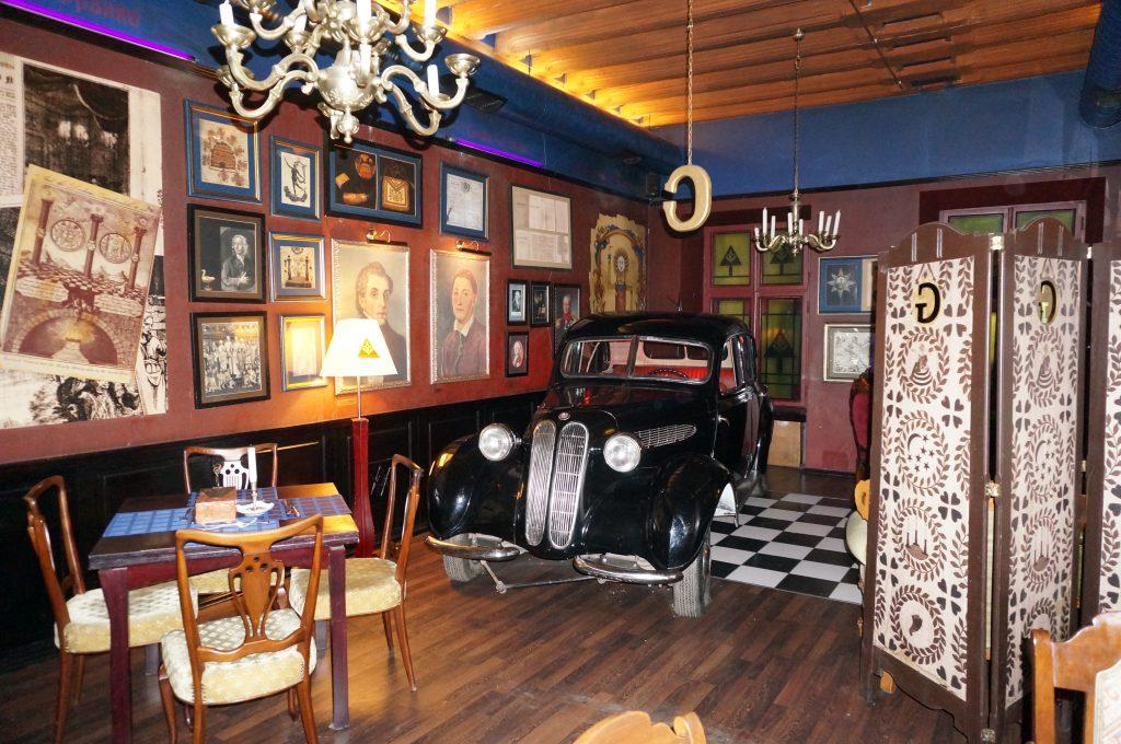car in masonic restaurant in Lviv