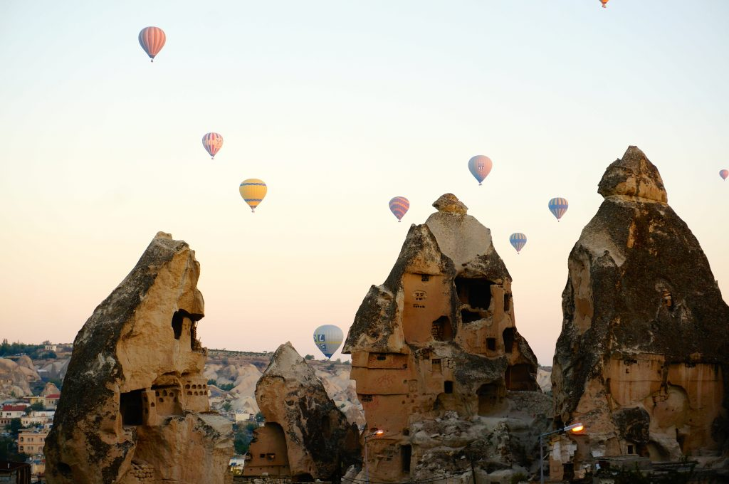 The price of hot air balloon rides in Cappadocia is expensive but they can still be pretty to watch from below if in Cappadocia on a budget