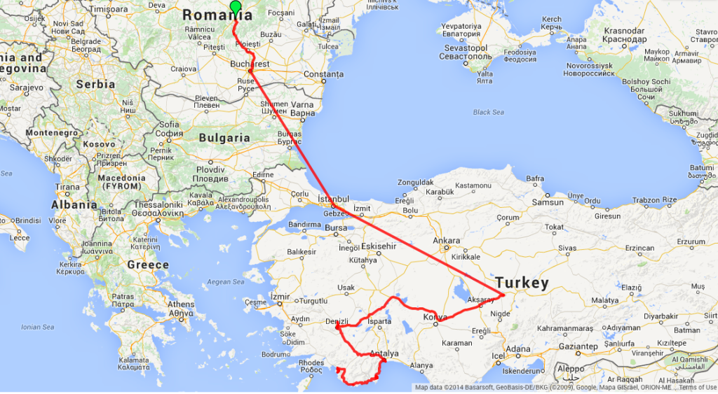 Route map from Brasov Romania to Fethiye Turkey