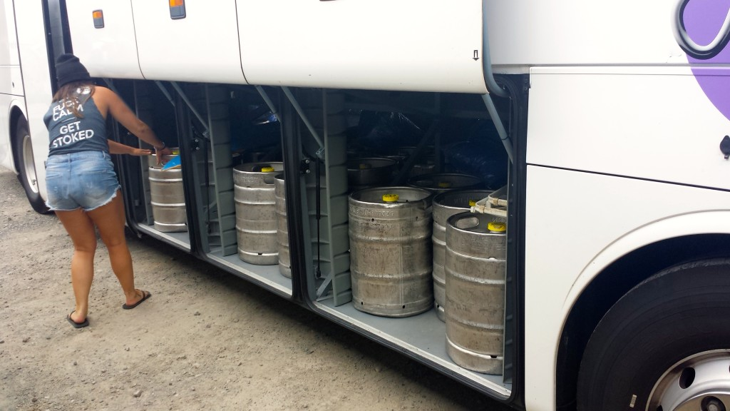 kegs of beer in a bus