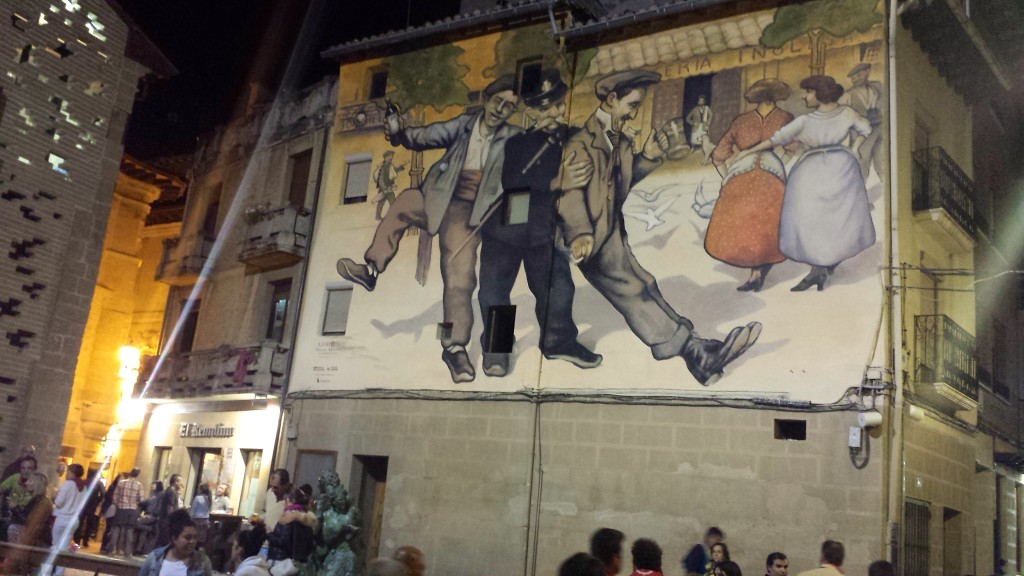 Mural on the streets of Haro of drunken men on night before the Wine Fight