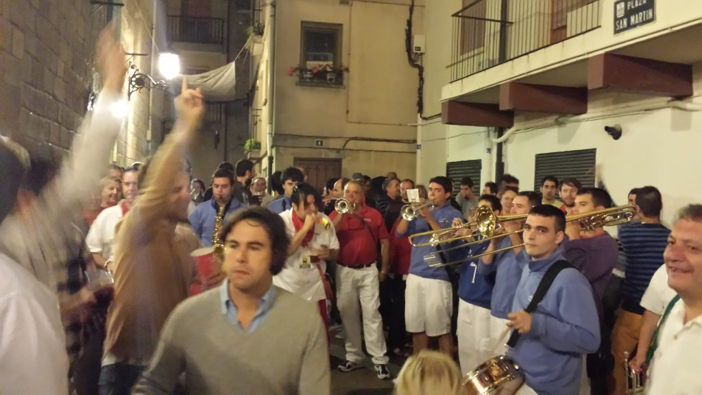 brass band at street party in Haro on the night before Batalla del Vino Haro Spain