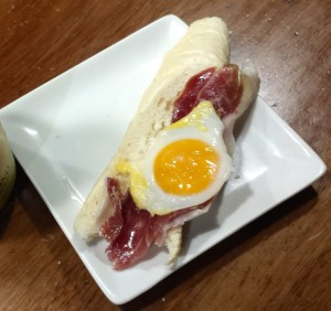 tapa with cured ham and egg