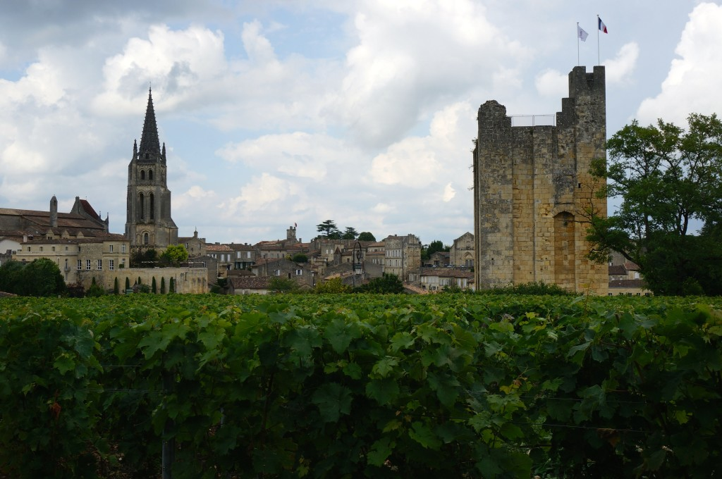 Saint Emilion behind vineyards