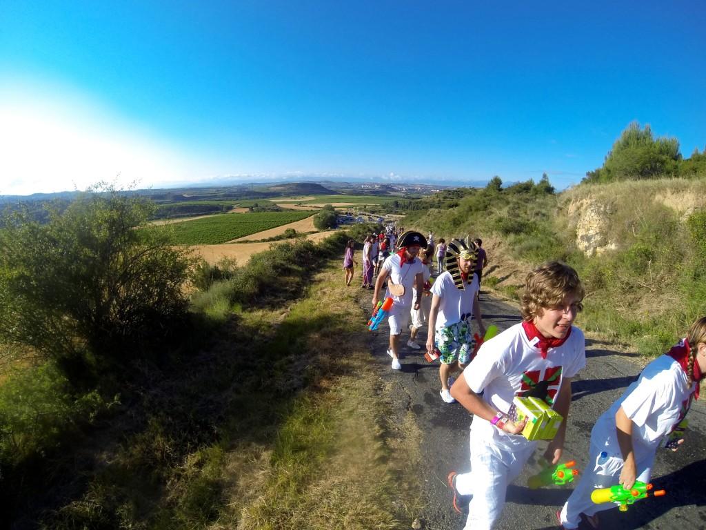 Walking to wine fight Haro Spain