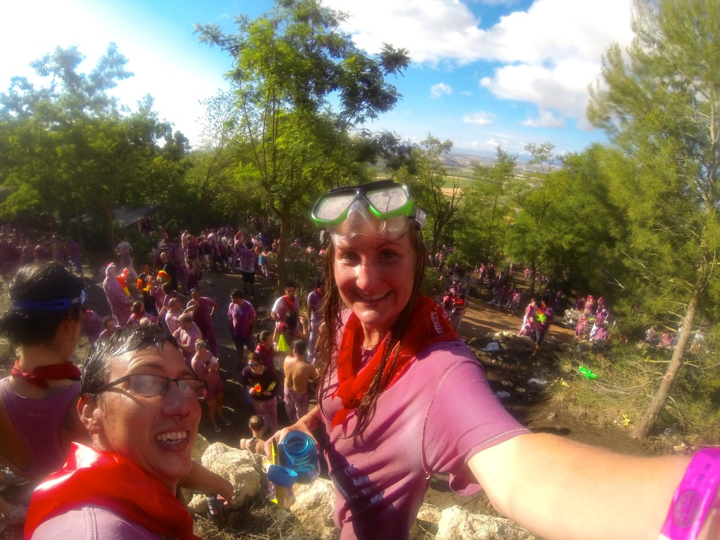 john and heather taking a selfie together during the wine battle in Haro Spain
