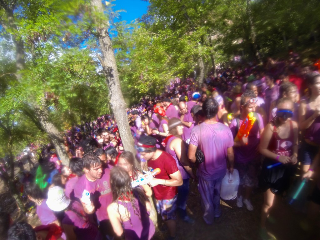 Wine Battle Haro Spain on hill with lots of wine soaked people