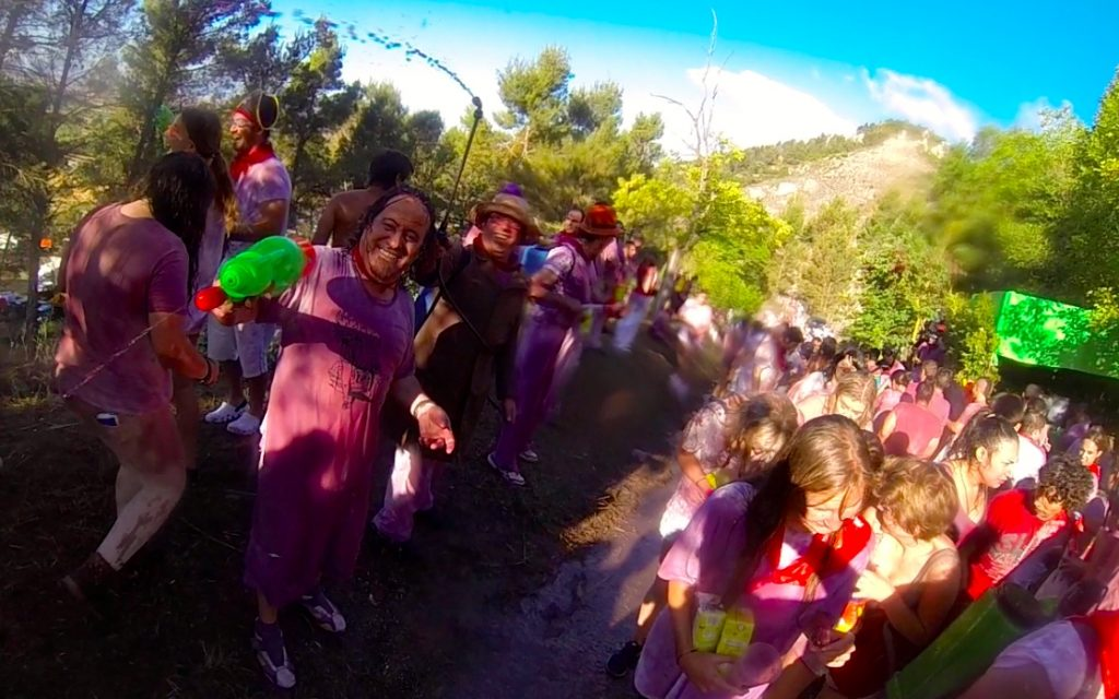 The Haro Wine Battle Begins as locals shoot wine from super soaker water guns every year on the morning of June 29 in Spain