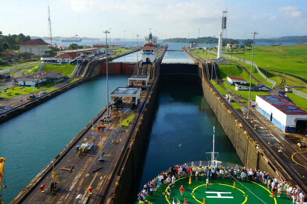 The Celebrity Infinity going through the Gatun locks of Panama Canal