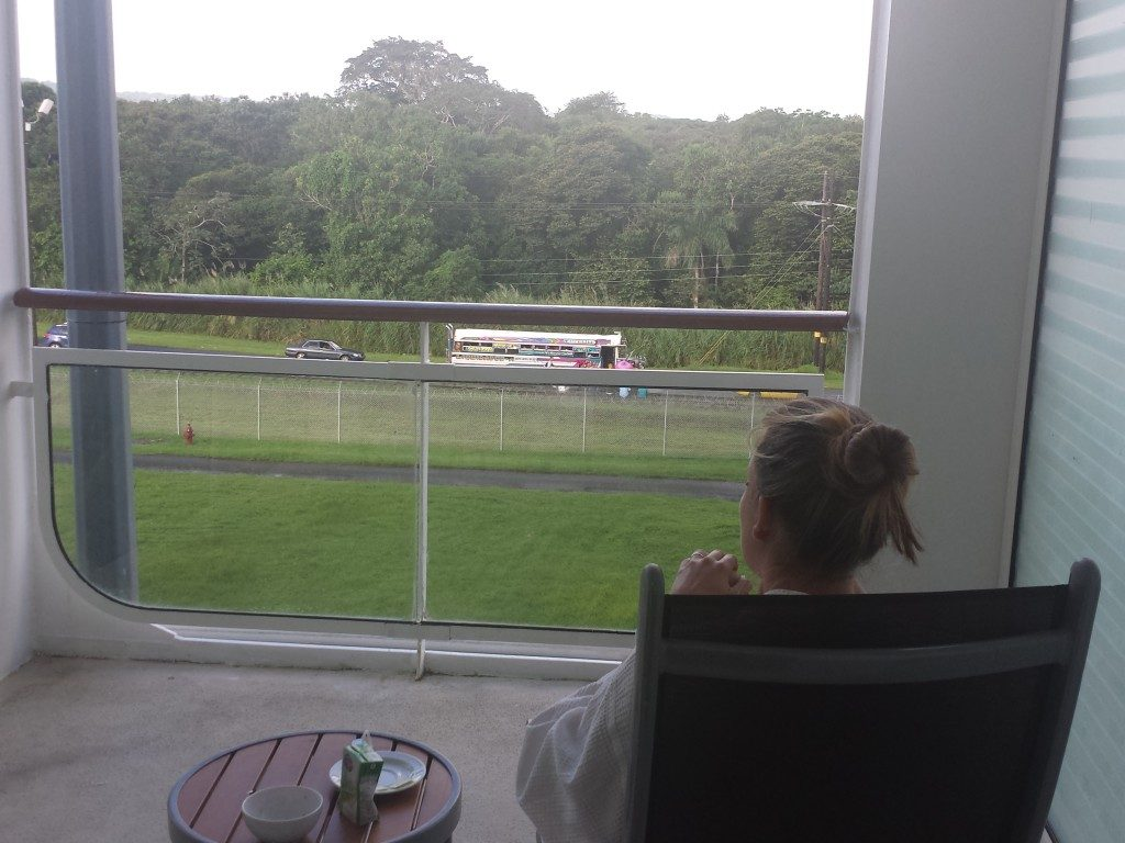 Looking at Panama chicken busses from our stateroom balcony while cruising the panama canal